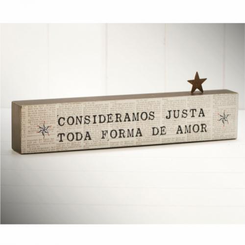 """BLOCO PALAVRA 35x10 """"CONSIDERAMOS JUSTA TODA FORMA DE AMOR"""""""