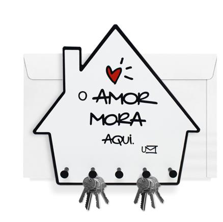 """PORTA CHAVES E CORRESPONDÊNCIA """"O AMOR MORA AQUI"""""""